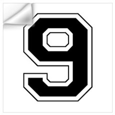 Varsity Font Number 9 Black Wall Decal