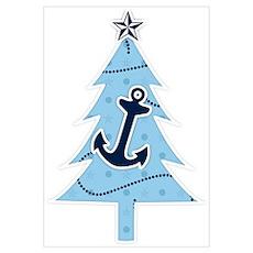 Navy Christmas Tree Poster