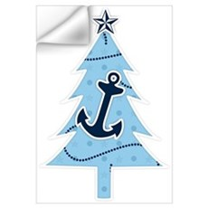Navy Christmas Tree Wall Decal