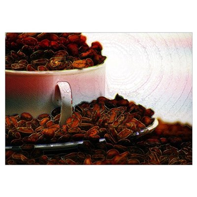 Coffee Cup amd Beans Poster