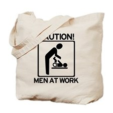 Caution: Men At Work - Diaper Tote Bag