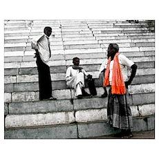 Men Talk in Varanasi Poster