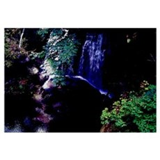 Waterfall At Night Framed Print
