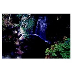 Waterfall At Night Poster