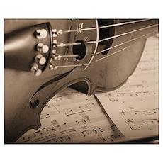 Violin Sepia Poster