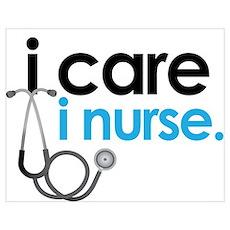 i care i nurse blue Poster