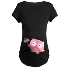 Cute Baby Girl Owl Maternity Tee Shirt