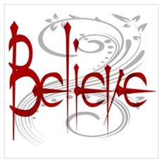 Maroon Believe with Gray Flou Poster