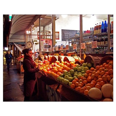 Fruits at Farmers Market in Color Poster
