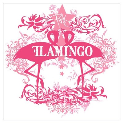Pink Flamingo Abstract Poster