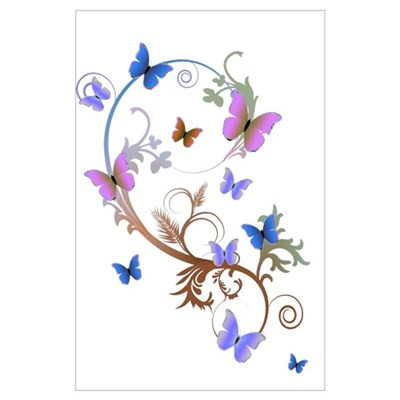 Blue & Purple Butterflies Poster