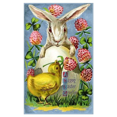 Easter Bunny and Baby Chick Poster