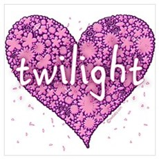 Twilight Retro Purple Heart with Flowers Large Fra Poster