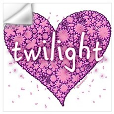 Twilight Retro Purple Heart with Flowers Large Fra Wall Decal