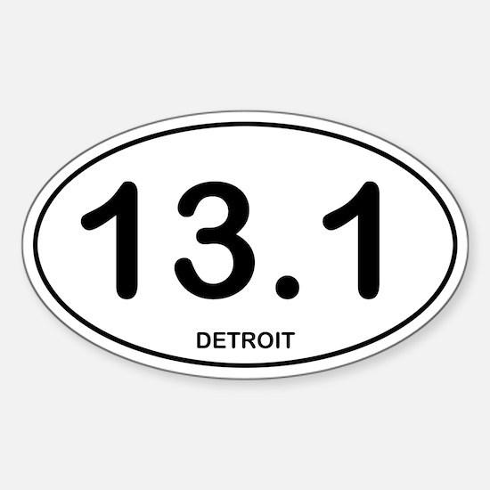 Detroit Half Marathon Sticker (Oval)