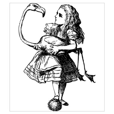 Alice and Flamingo Canvas Art