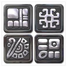Mayan Glyphs-black & silver Poster