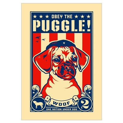 Obey the PUGGLE! USA Canvas Art