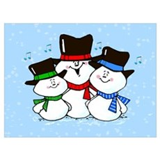 Holiday Decorations 3 Singing Snowmen Framed Pane Poster
