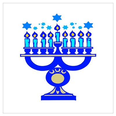 Blue Menorah Framed Print