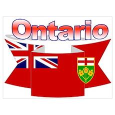 Ontario Flag Ribbon Wall Art Poster