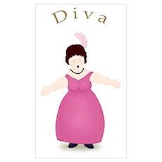 Brunette Diva in Rose Dress Poster