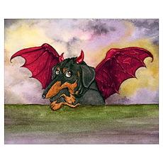 Bat Wing Dachshund Poster