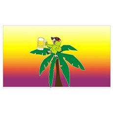 Parrot lounging with a beer Framed Print
