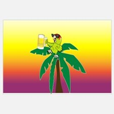 Parrot lounging with a beer