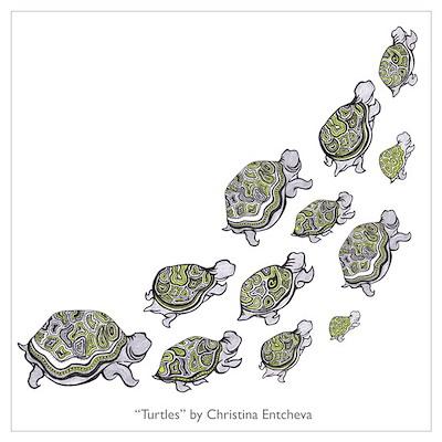 Turtle Illustration Poster