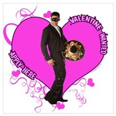 Male Valentine Wanted (Pink) Poster