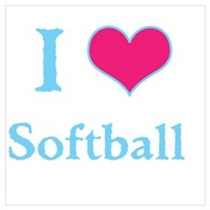 I Love Softball Poster