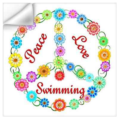 Swimming Peace Sign Wall Decal