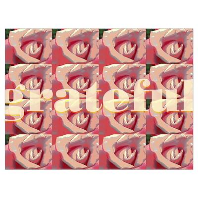 12 Step Gratitude Rose Design Print Poster
