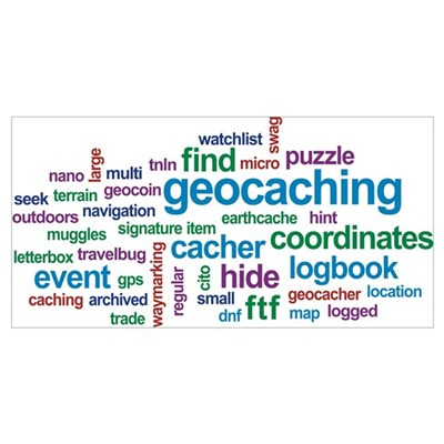 Geocaching Word Cloud Canvas Art
