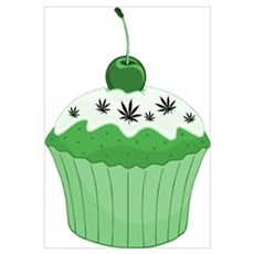 Mary Jane's Green Cupcake Canvas Art