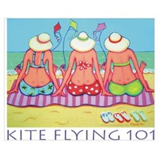Kite Flying 101 Beach Poster