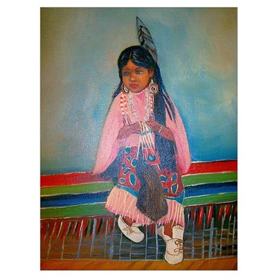 American Indian Girl in Pink Poster