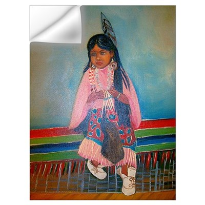 American Indian Girl in Pink Wall Decal