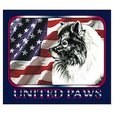 Keeshond USA Flag Poster