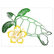 Sea Turtle Hibiscus Yellow Poster