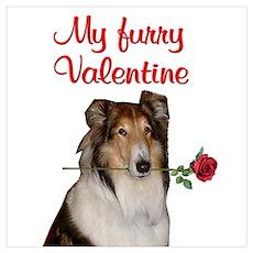 Furry Valentine Collie Poster