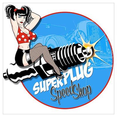 Super Plug Speed Shop Poster