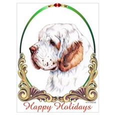 Clumber Spaniel Holiday Canvas Art