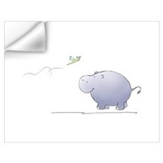 hippo and dragonfly Wall Decal