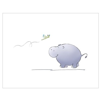 hippo and dragonfly Poster