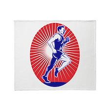 Marathon runner jogger Throw Blanket