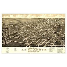 Antique Map of Ann Arbor, MI. Poster