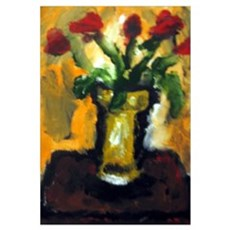 "- ""Flowers w/ Orange Backg Canvas Art"