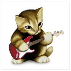 Cat Playing Guitar Poster